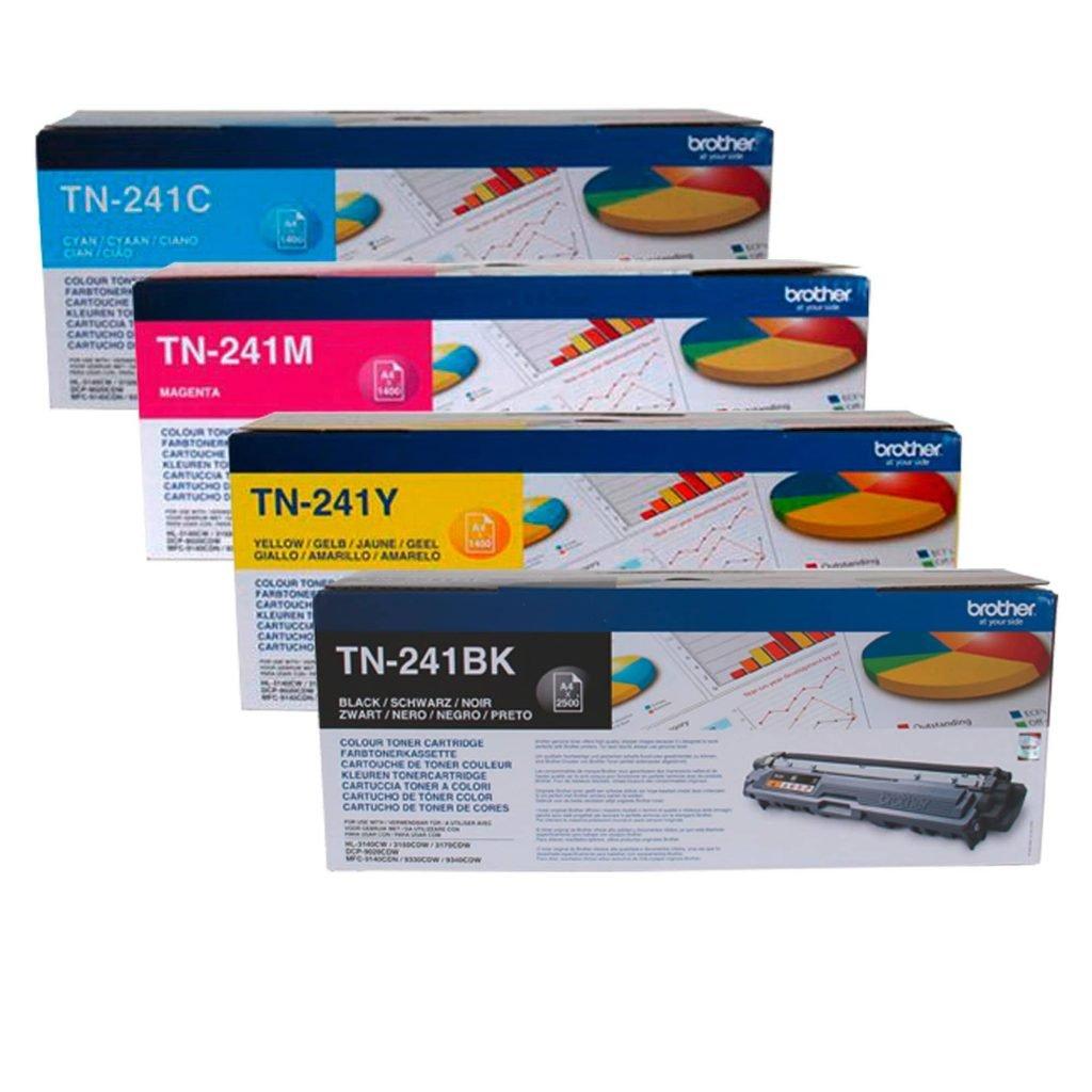 Brother TN241 Pack toners originales negro + tricolor de alta capacidad (1 x 2500 + 3 x 1400)