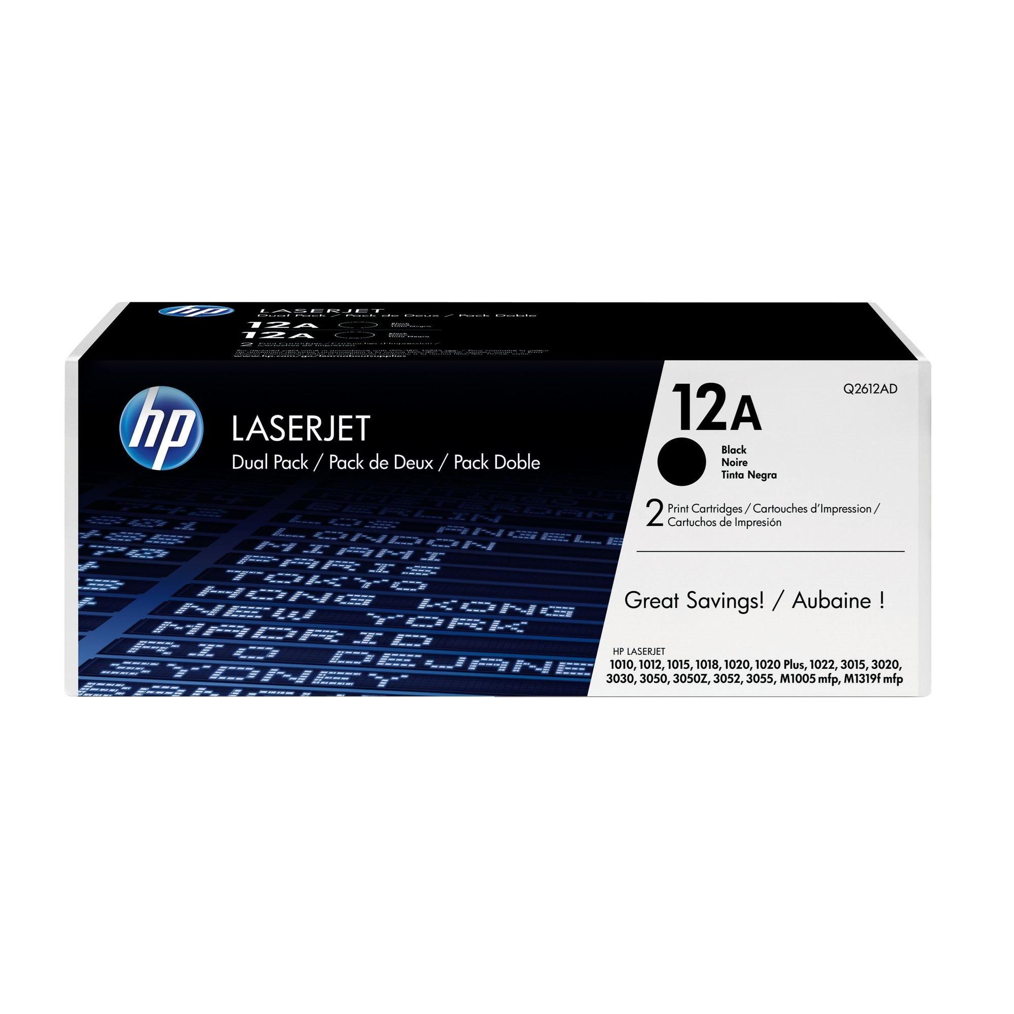 HP 12A (Q2612AD) Pack tóner original negro de alta capacidad (2 x 2000 páginas)