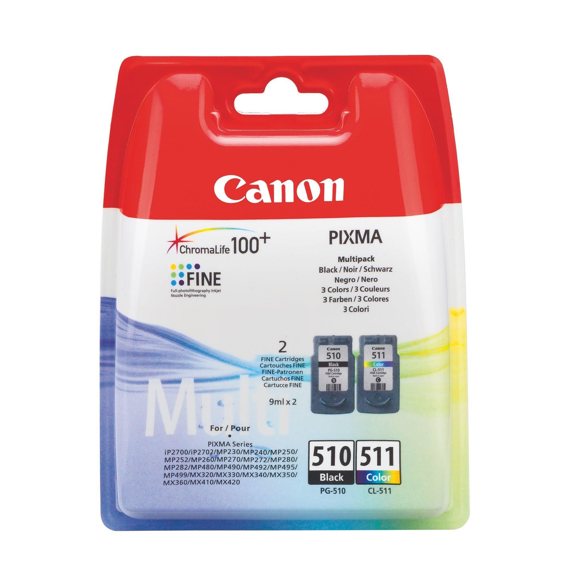 Canon PG510 + CL511 Pack cartucho original negro + tricolor de alta capacidad (220 + 244 páginas)
